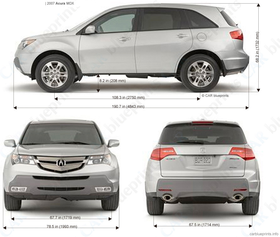 Acura MDX Blueprints, Vector Drawings