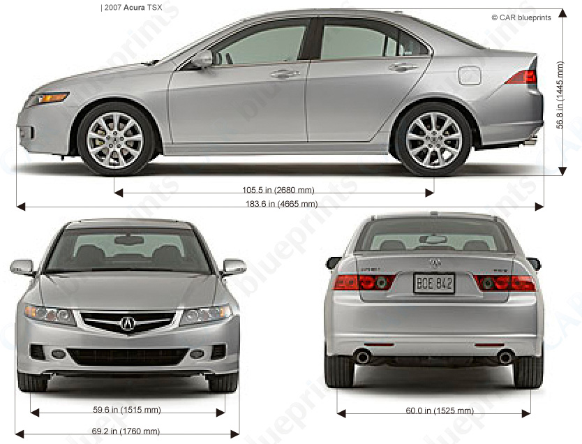 CAR blueprints - Acura TSX blueprints, vector drawings, clipart and pdf templates