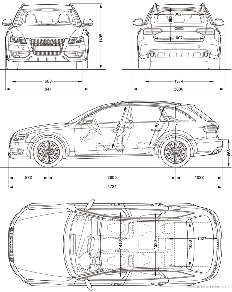 Car blueprints audi a4 allroad quattro blueprints vector 2010 audi a4 allroad quattro wagon blueprint malvernweather