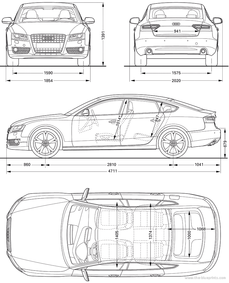 car blueprints 2010 audi a5 sportback hatchback blueprint. Black Bedroom Furniture Sets. Home Design Ideas