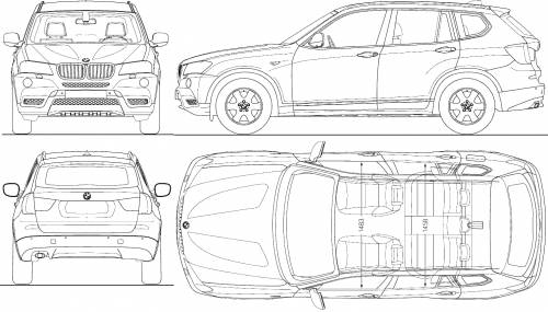 car blueprints bmw x3 blueprints vector drawings clipart and pdf templates. Black Bedroom Furniture Sets. Home Design Ideas