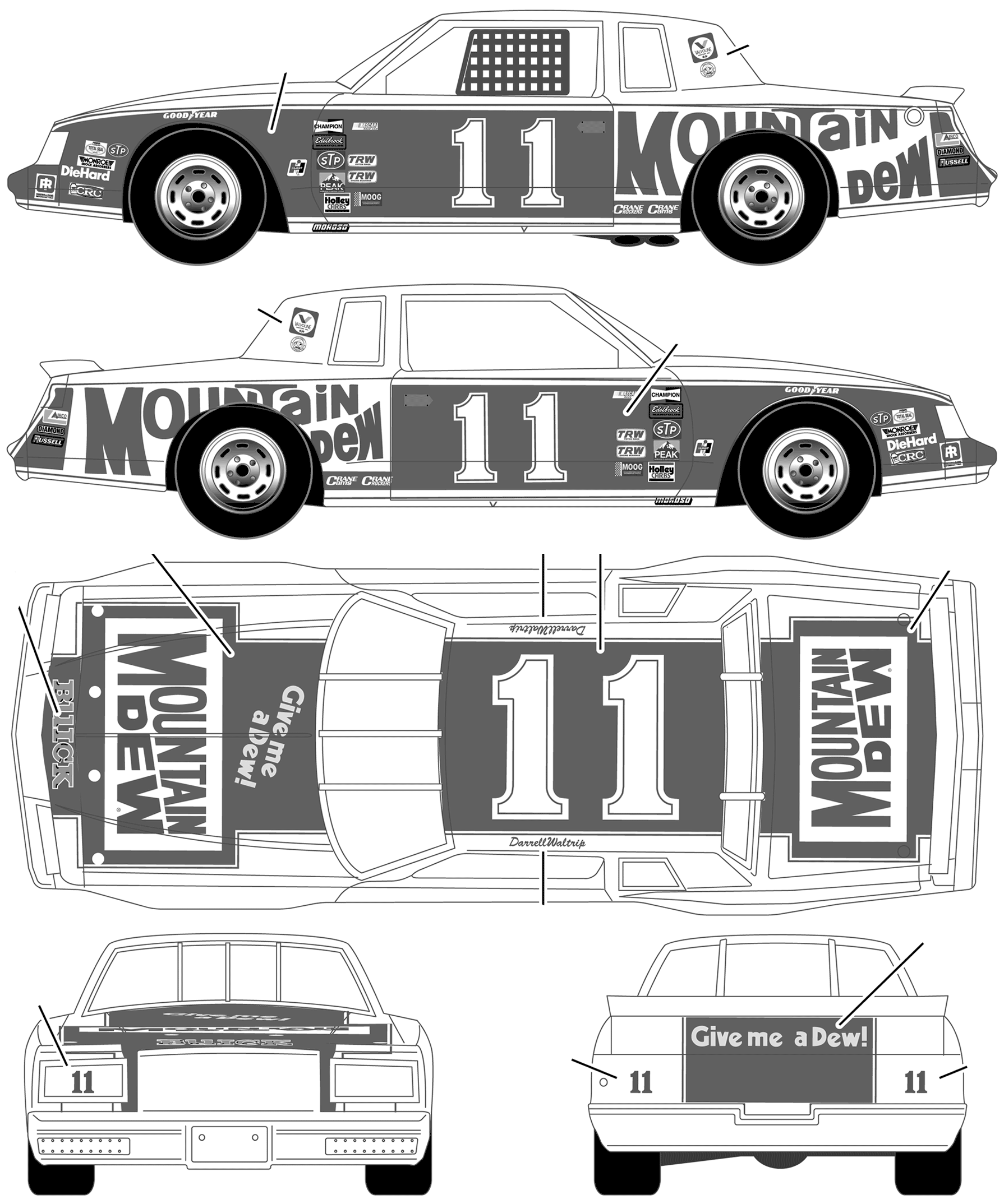 Car blueprints buick stock car no 11 darrell waltrip mountain buick stock car no 11 darrell waltrip mountain dew coupe concept malvernweather Choice Image