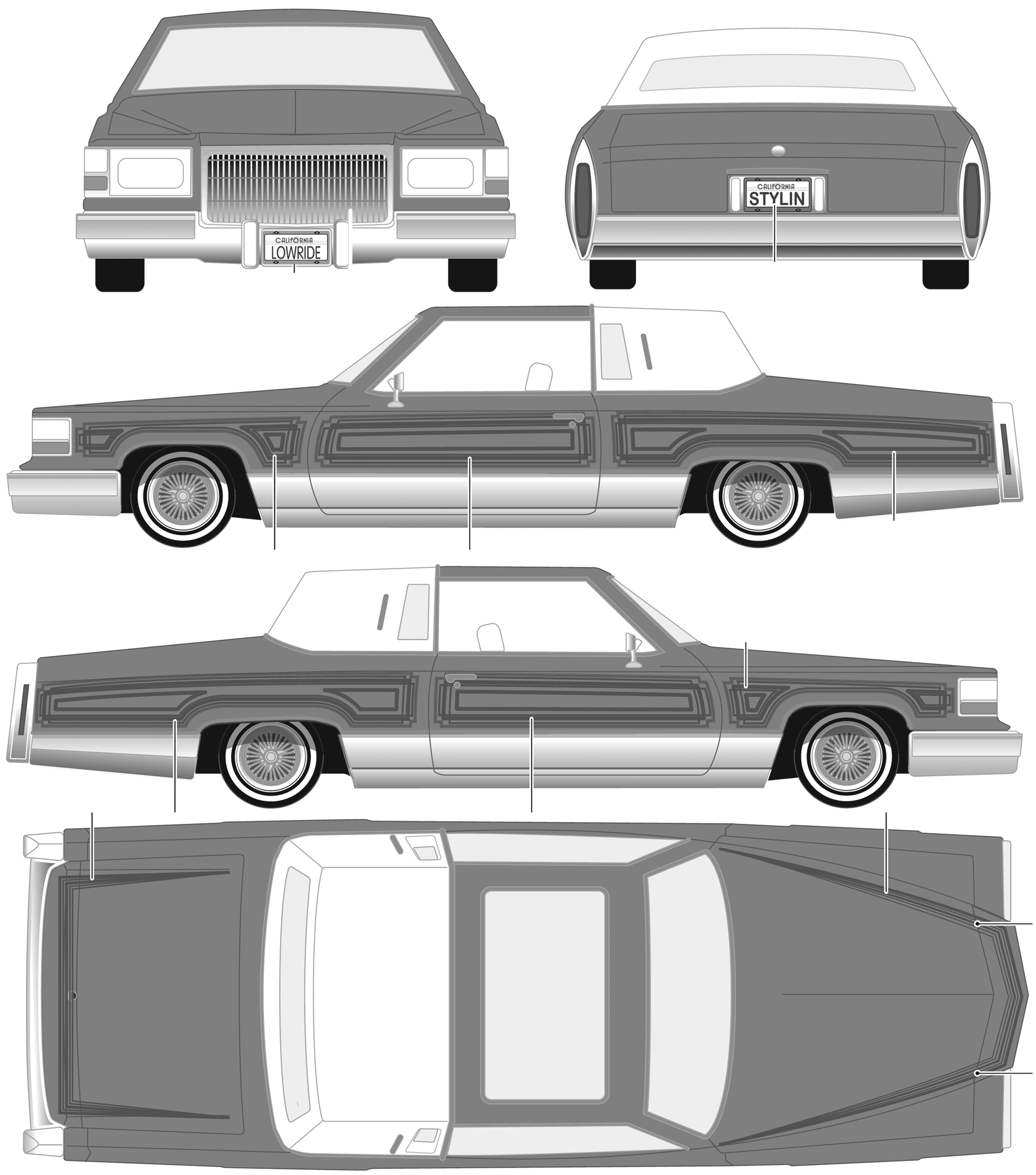 Car blueprints cadillac custom lowrider blueprints for Custom blueprints