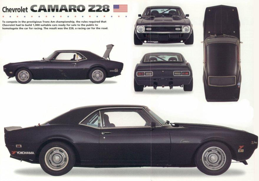 Car Blueprints 1968 Chevrolet Camaro Z28 Coupe Blueprint