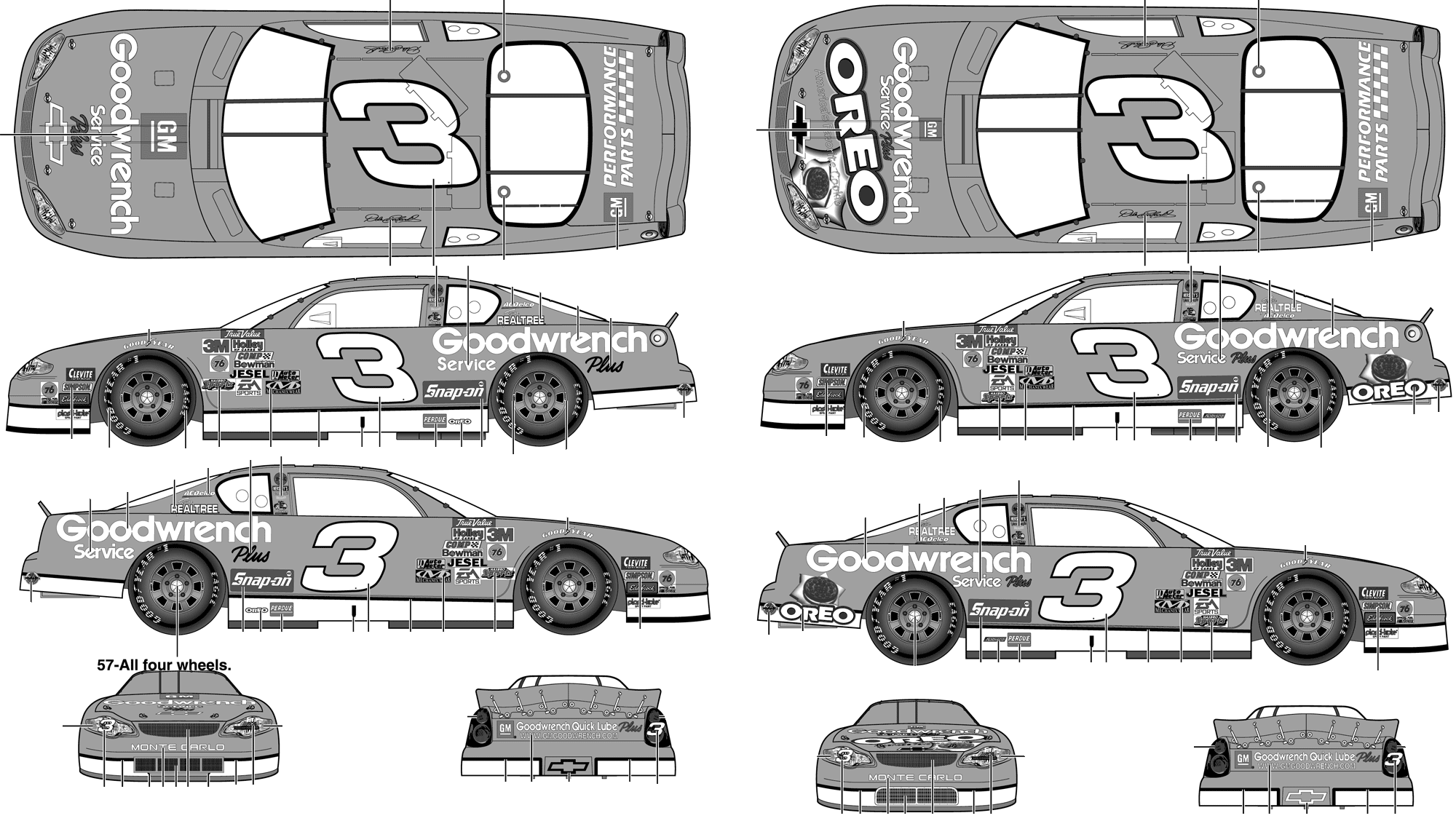 Car blueprints 2001 chevrolet monte carlo stock car no 3 dale 2001 chevrolet monte carlo stock car no 3 dale earnhardt goodwrench service plus coupe concept malvernweather Choice Image