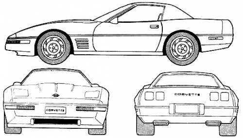 Car blueprints chevrolet corvette c4 hard top blueprints for Blueprint size prints