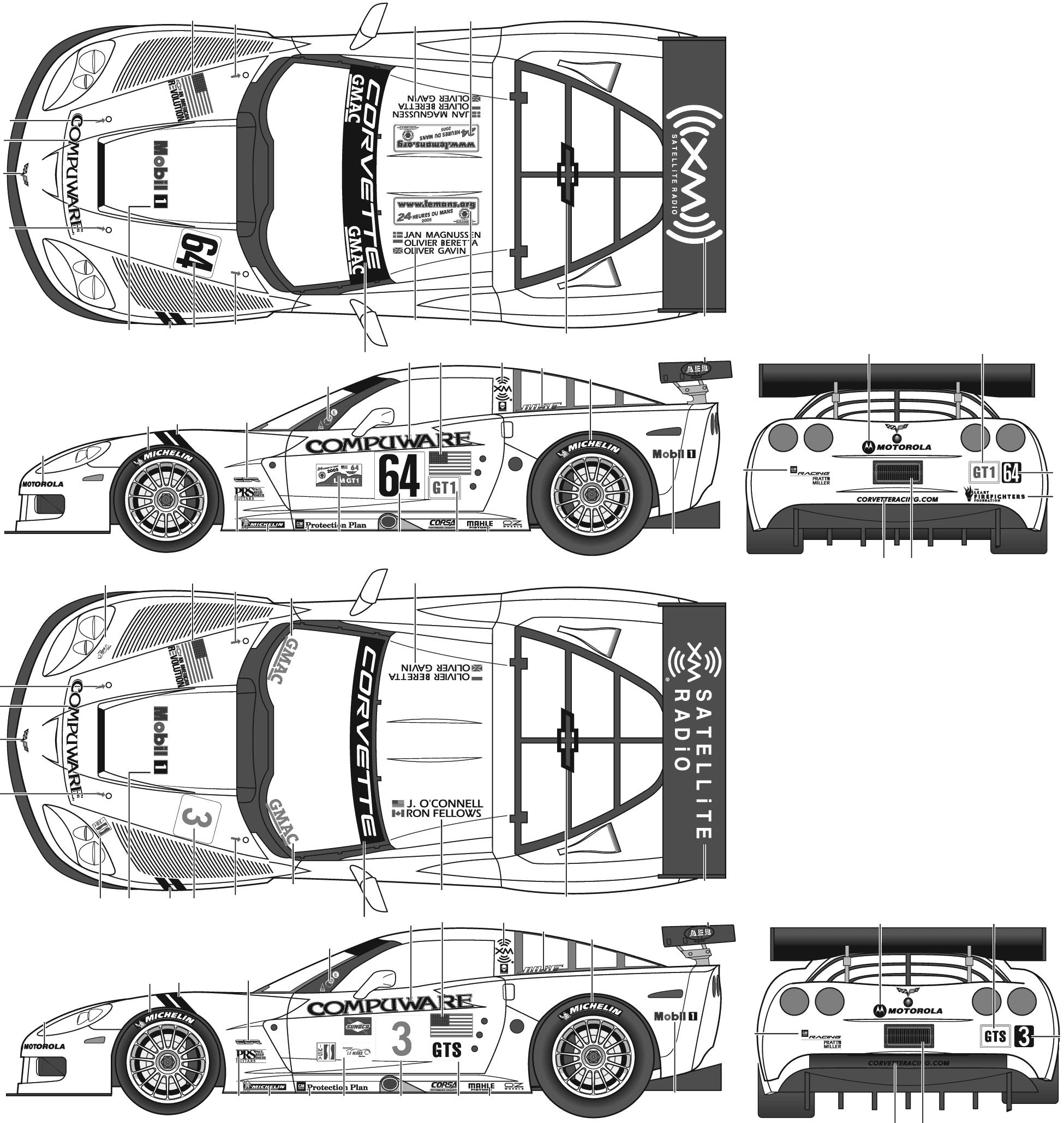 Corvette C6 R on Tesla Model 3 Dimensions