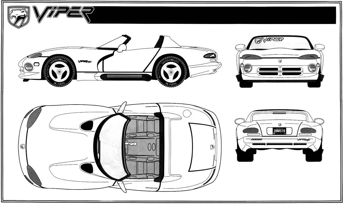 Car Blueprints Dodge Viper Blueprints Vector Drawings