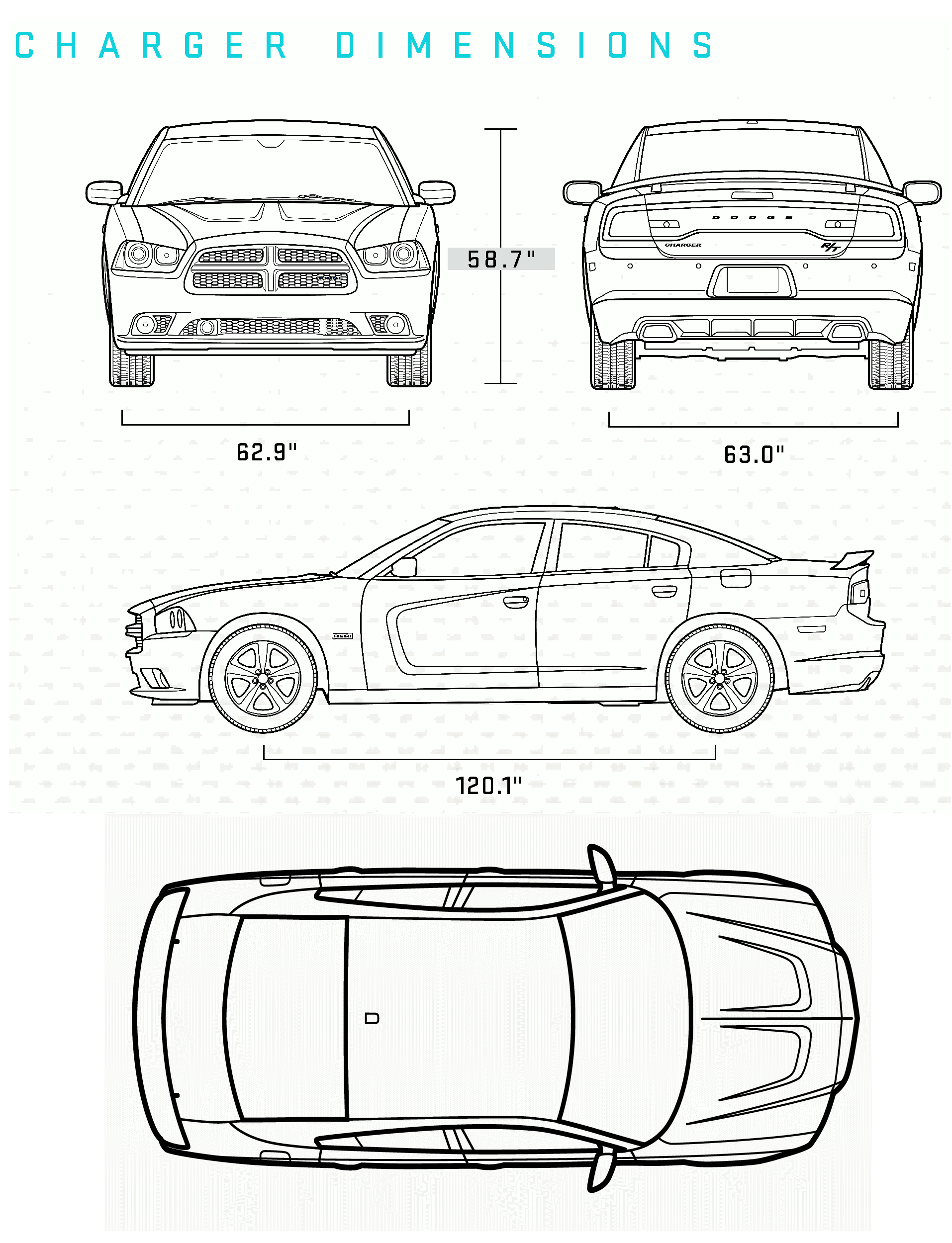 Car Blueprints 2011 Dodge Charger Dimension Sedan Blueprint