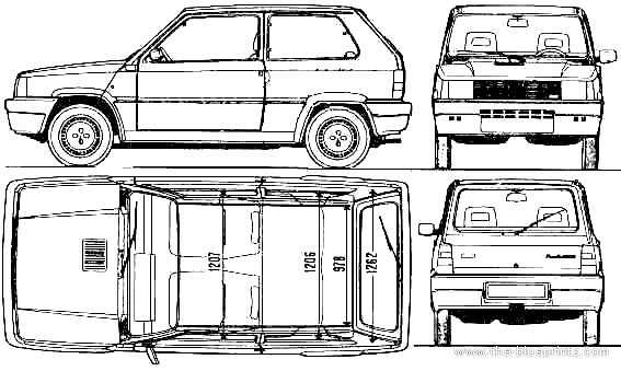 car blueprints fiat panda 1000s blueprints vector drawings clipart and pdf templates. Black Bedroom Furniture Sets. Home Design Ideas