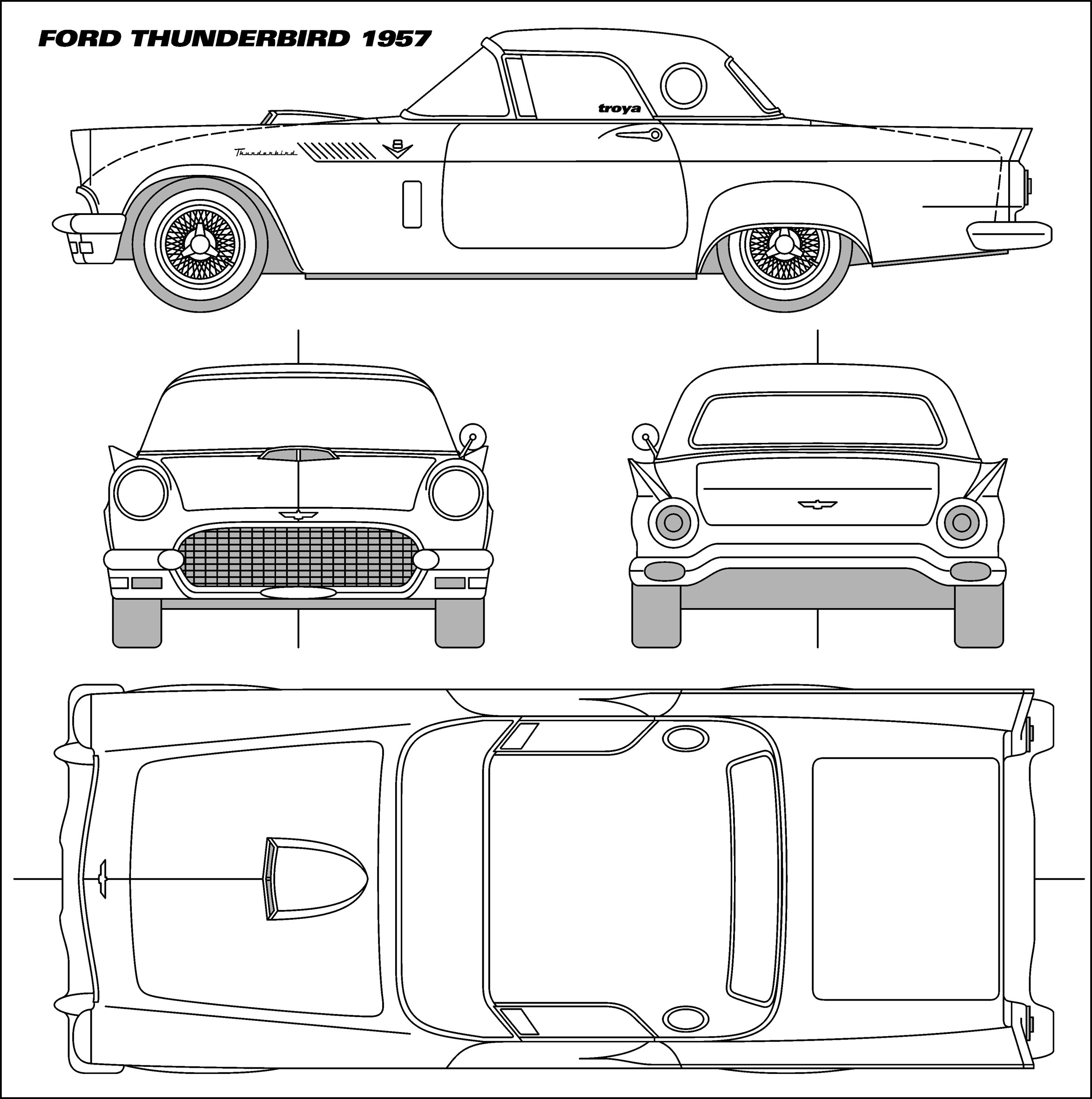 Car Blueprints Ford Thunderbird Blueprints Vector
