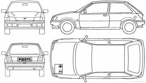 Car Blueprints Ford Fiesta 3 Door Blueprints Vector