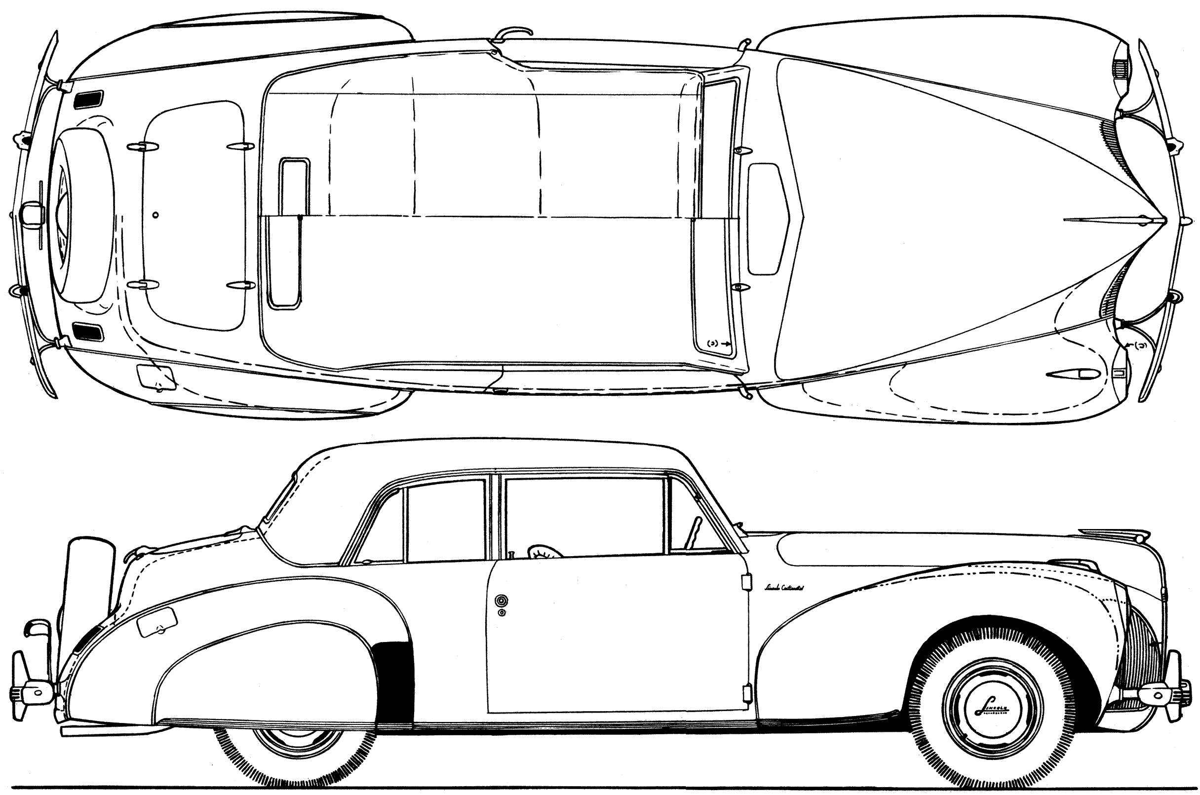 Car Blueprints Lincoln Continental V12 Blueprints