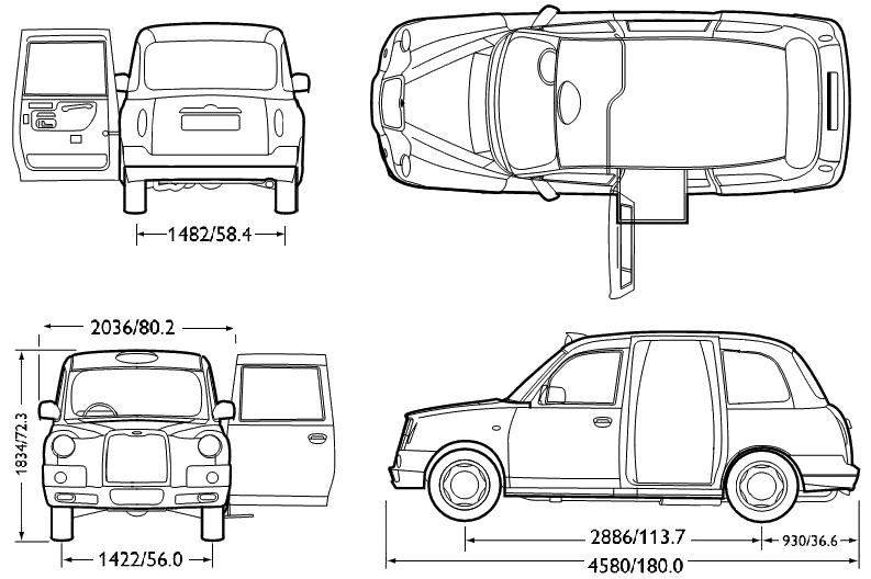 Car Blueprints Lti Fx4 London Taxi Blueprints Vector