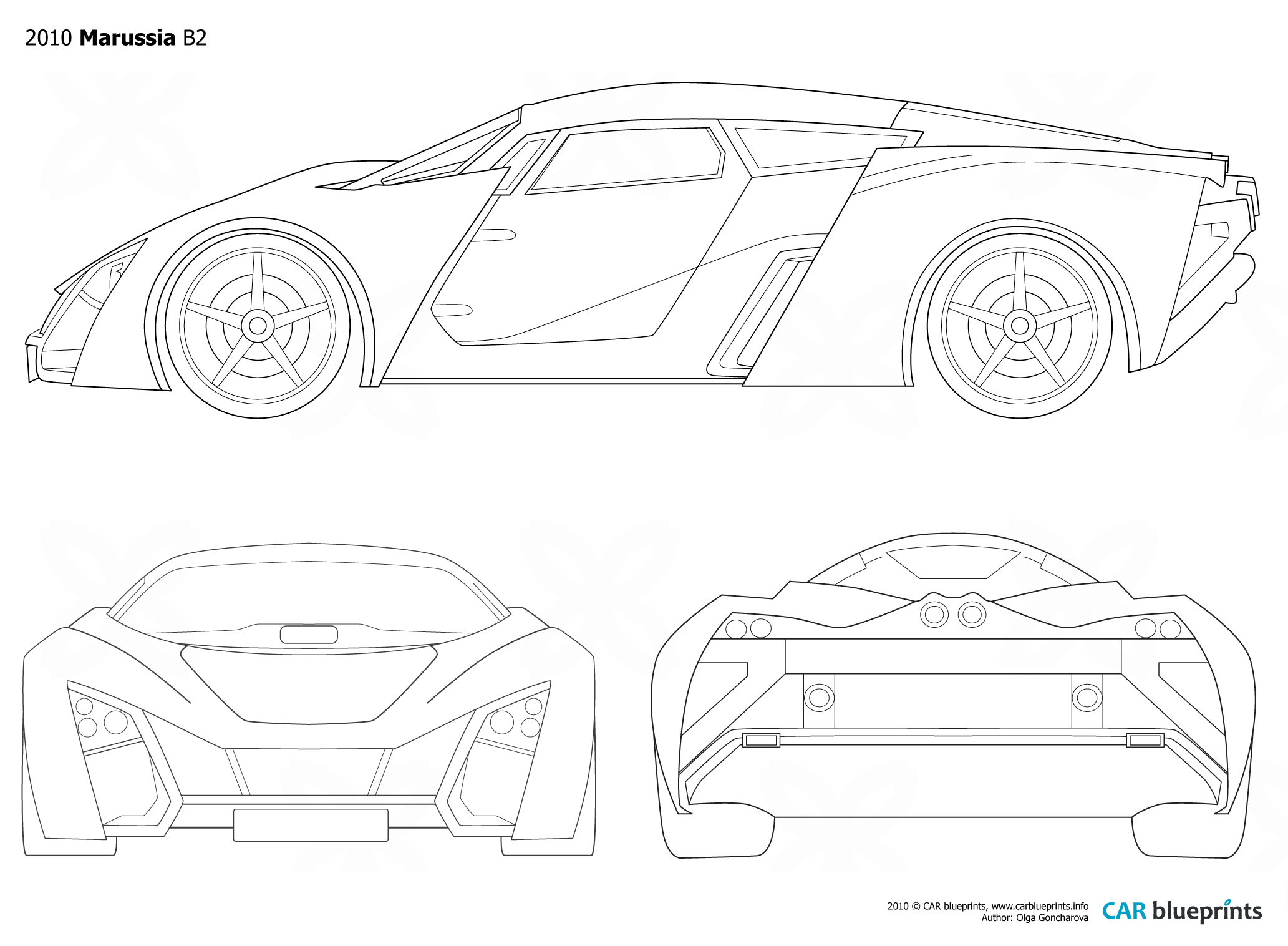 Car Blueprints Marussia Blueprints Vector Drawings Clipart