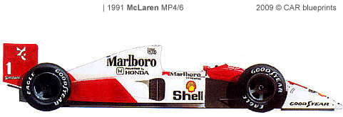 car blueprints 1991 mclaren mp4 6 f1 ow blueprint. Black Bedroom Furniture Sets. Home Design Ideas