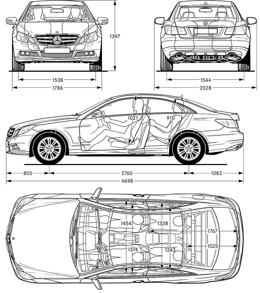 car blueprints mercedes benz w212 e class blueprints. Black Bedroom Furniture Sets. Home Design Ideas
