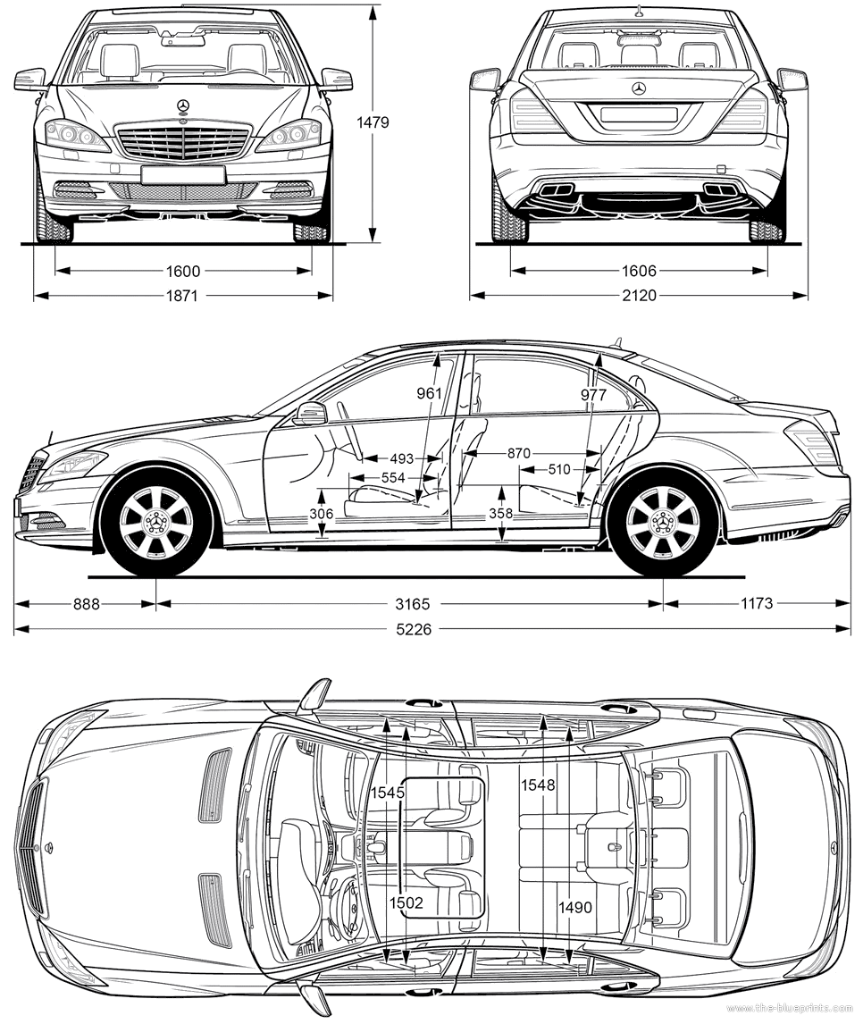 car blueprints mercedes benz s class w221 blueprints vector drawings clipart and pdf templates. Black Bedroom Furniture Sets. Home Design Ideas