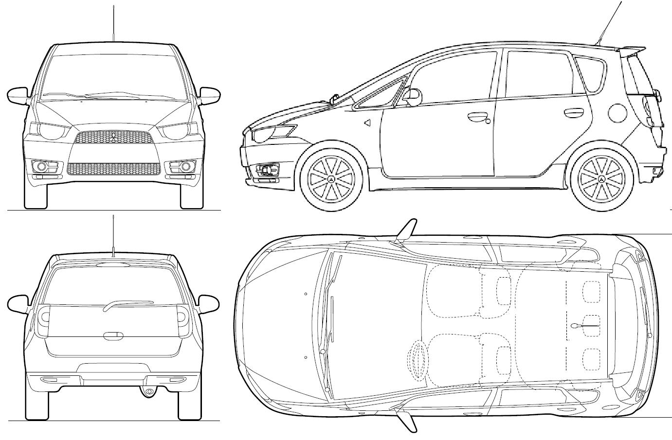 Car Blueprints Mitsubishi Colt 5 Door Blueprints Vector