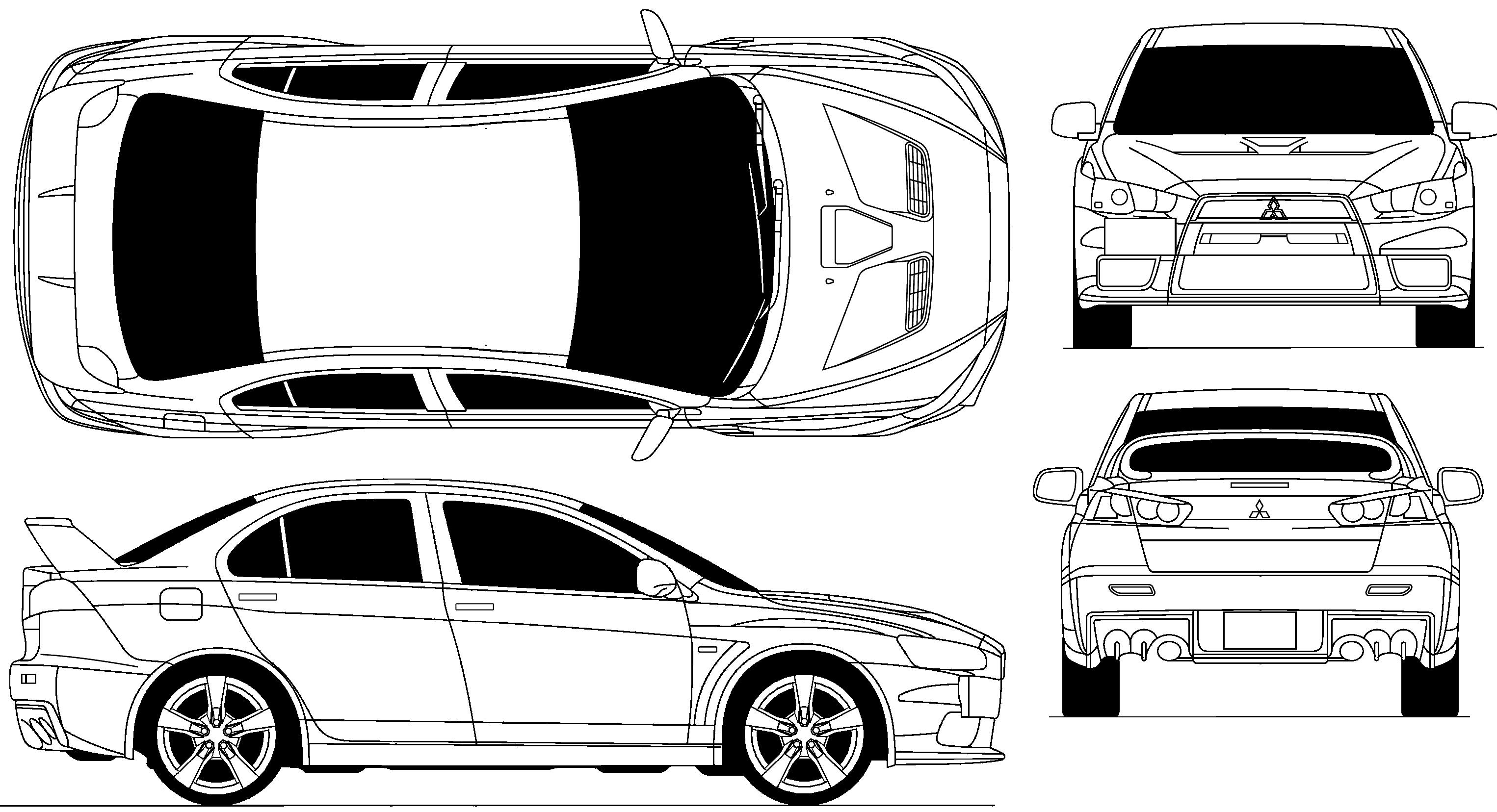 Car Blueprints Mitsubishi Lancer Evolution X Blueprints