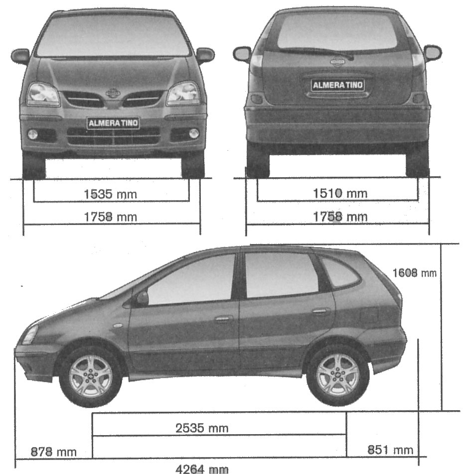 Car blueprints nissan almera tino blueprints vector drawings 2005 nissan almera tino hatchback blueprint vanachro Gallery