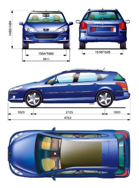 car blueprints peugeot 407 sw blueprints vector drawings clipart and pdf templates. Black Bedroom Furniture Sets. Home Design Ideas