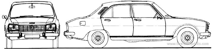 Car Blueprints Peugeot 504 Blueprints Vector Drawings Clipart