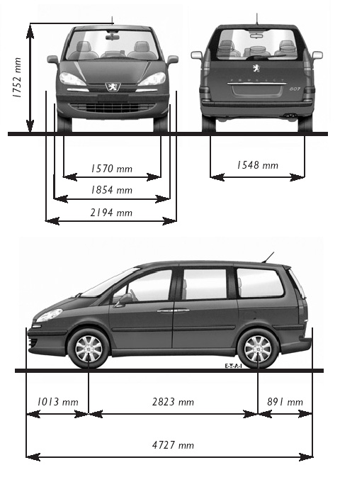 CAR blueprints - Peugeot 807 blueprints, vector drawings, clipart
