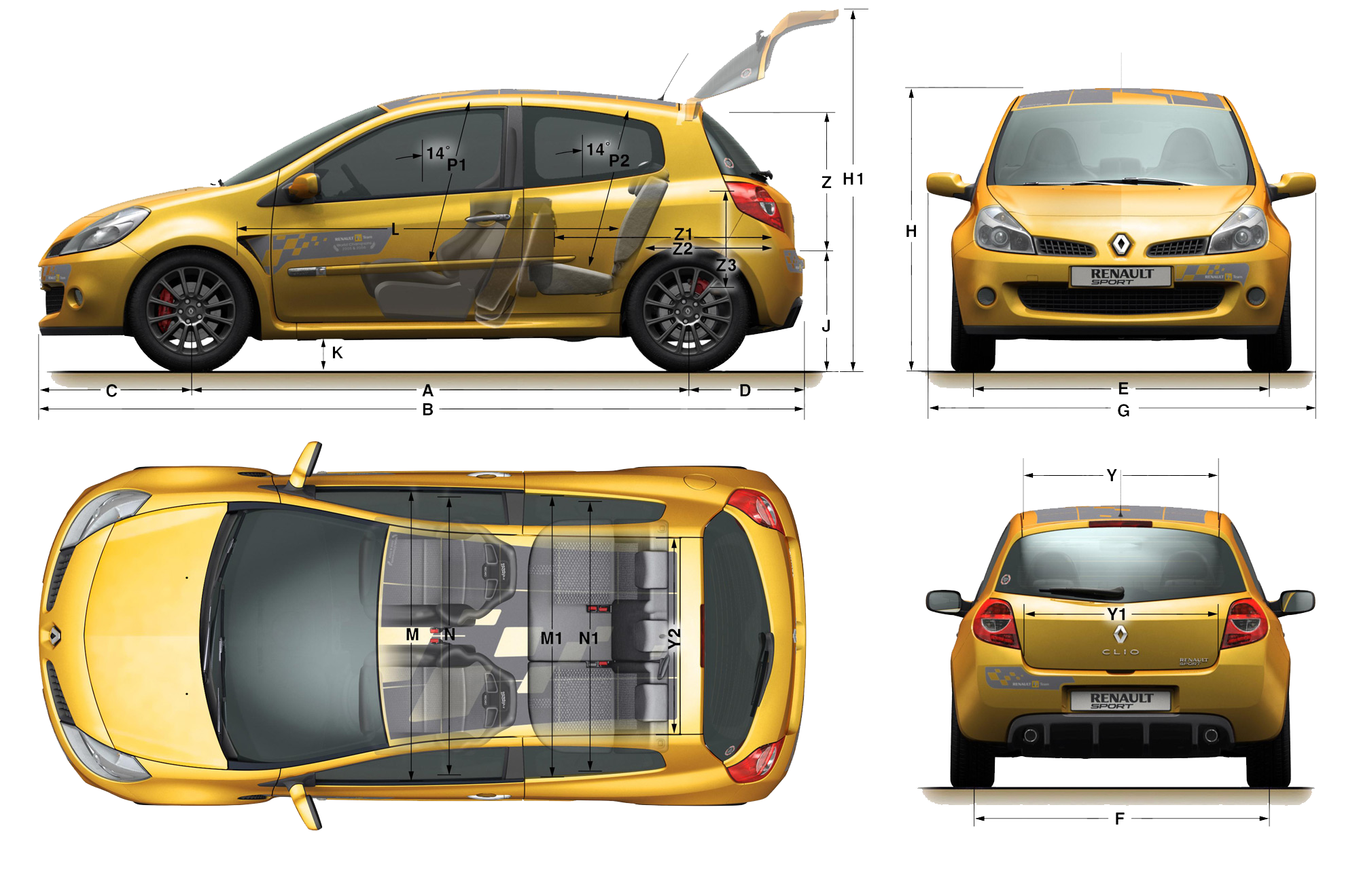 car blueprints renault clio sport r27 blueprints vector drawings clipart and pdf templates. Black Bedroom Furniture Sets. Home Design Ideas