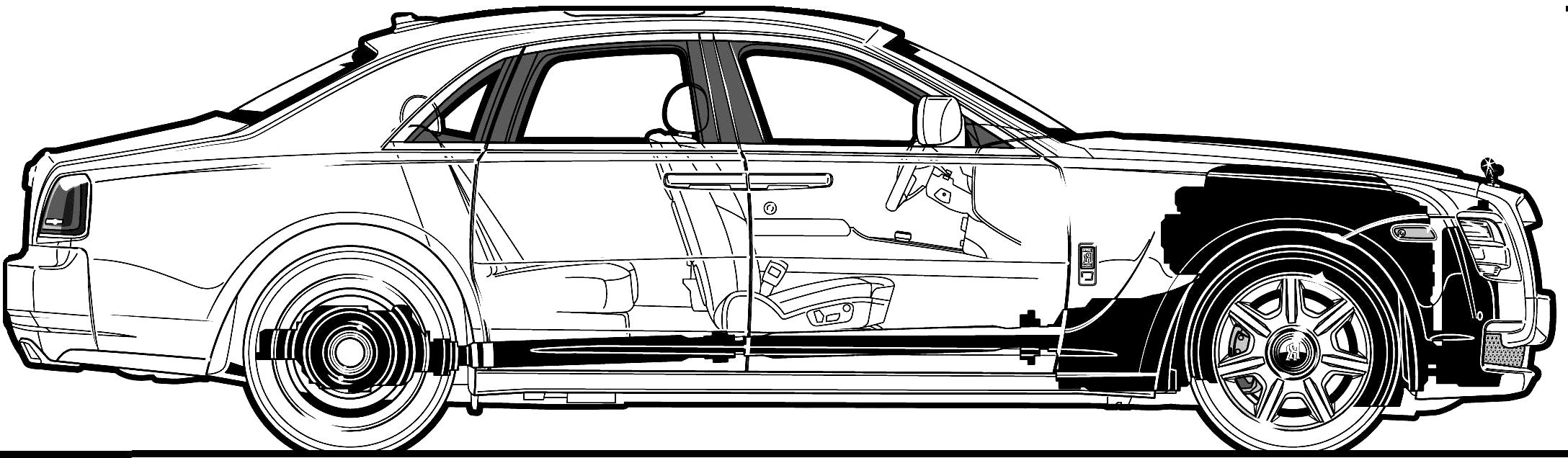 Car blueprints 2010 rolls royce ghost sedan blueprint 2010 rolls royce ghost sedan concept malvernweather Choice Image