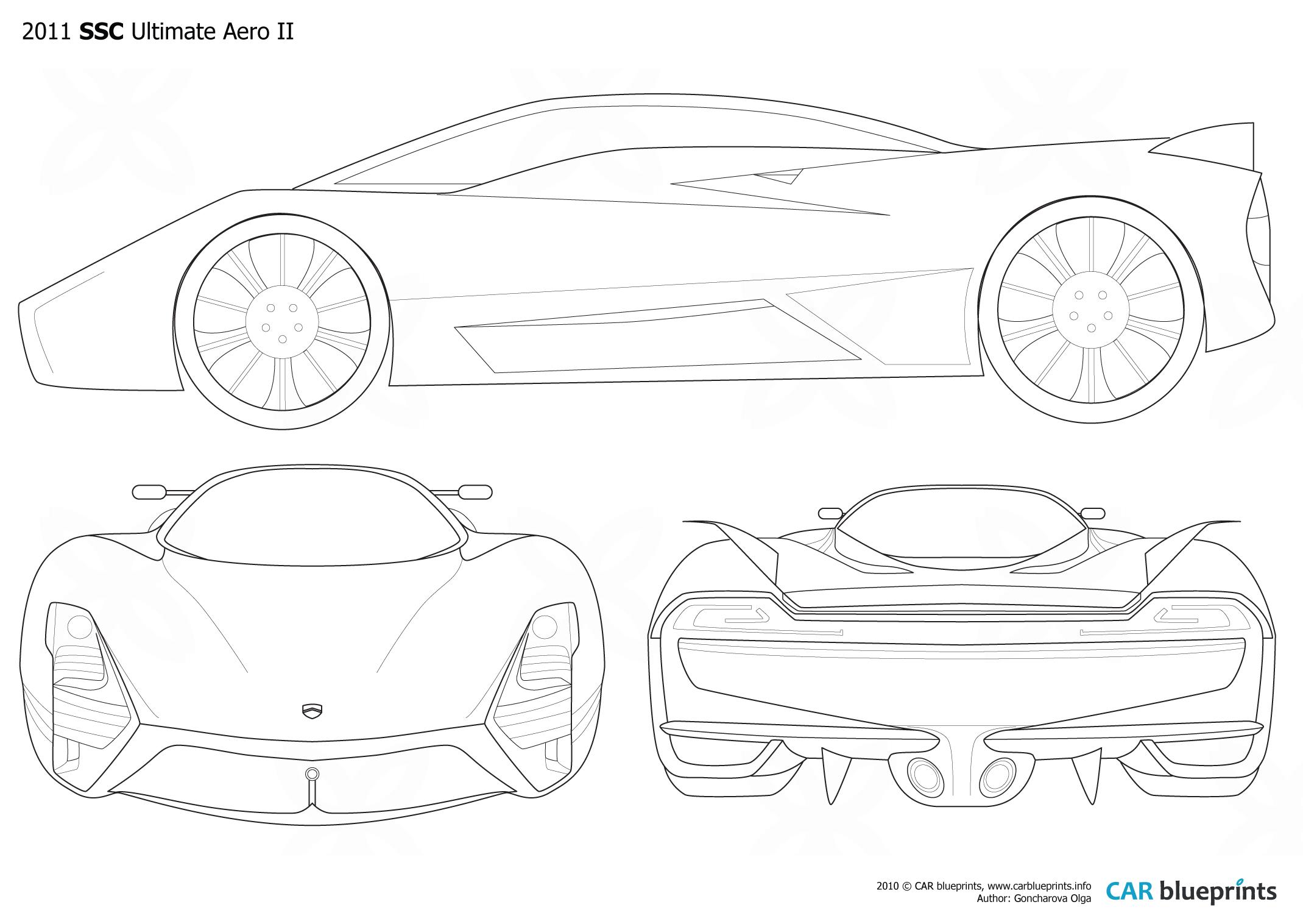 Car Blueprints Ssc Ultimate Aero Ii Blueprints Vector Drawings