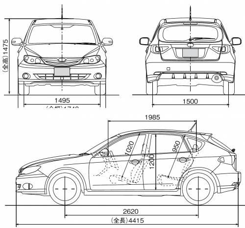 Car blueprints subaru impreza blueprints vector for Blueprint sizes
