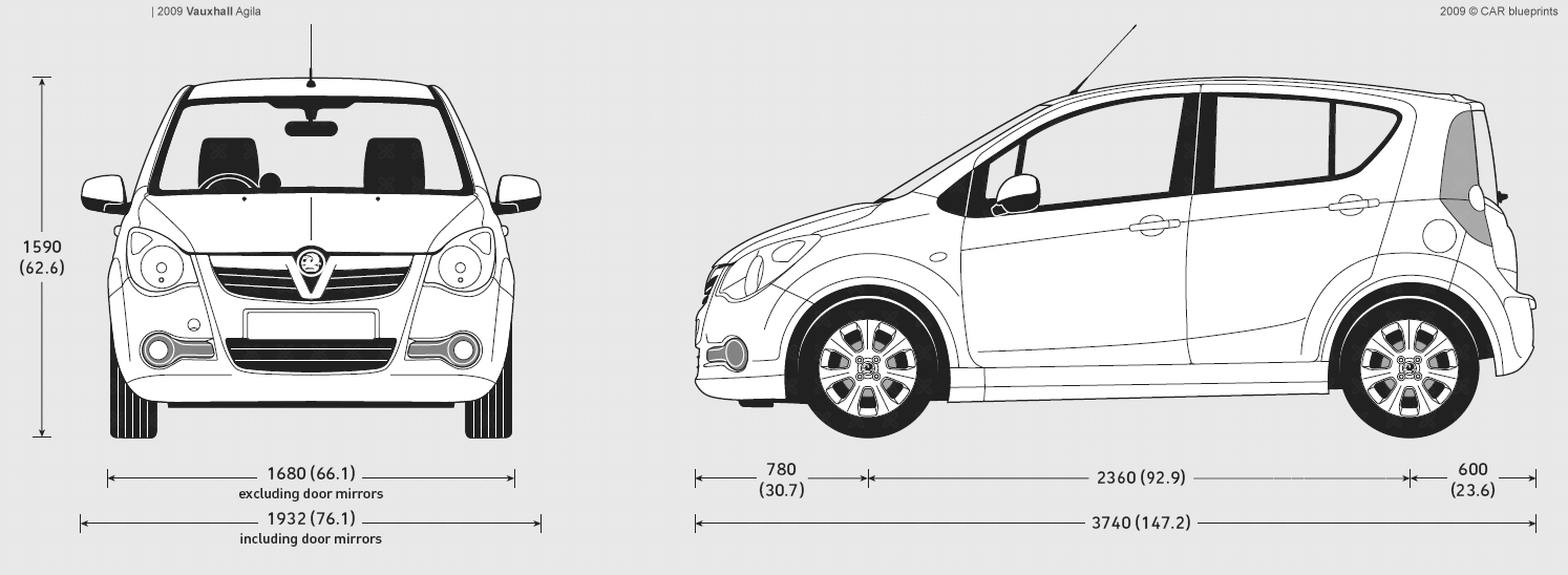 Car blueprints vauxhall agila blueprints vector drawings 2009 vauxhall agila hatchback blueprint car blueprints malvernweather Images