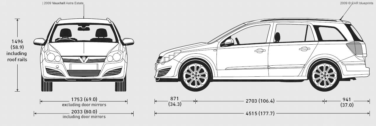 Car Blueprints Vauxhall Astra Estate Blueprints Vector