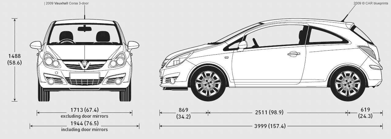 car blueprints vauxhall corsa 3 door blueprints vector drawings clipart and pdf templates. Black Bedroom Furniture Sets. Home Design Ideas