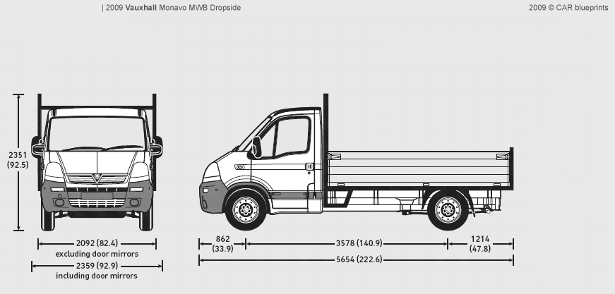 Transit Dropside Dimensions >> CAR blueprints - Vauxhall Movano MWB Dropside blueprints, vector drawings, clipart and pdf templates