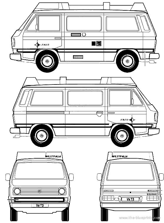 CAR blueprints Volkswagen T3