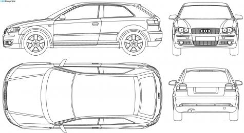CAR Blueprints Audi A Typ P Door Blueprints Vector - Audi car vector