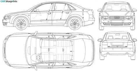 Car blueprints audi a4 b6 typ 8e blueprints vector drawings 2004 audi a4 b6 typ 8e sedan blueprint malvernweather Image collections
