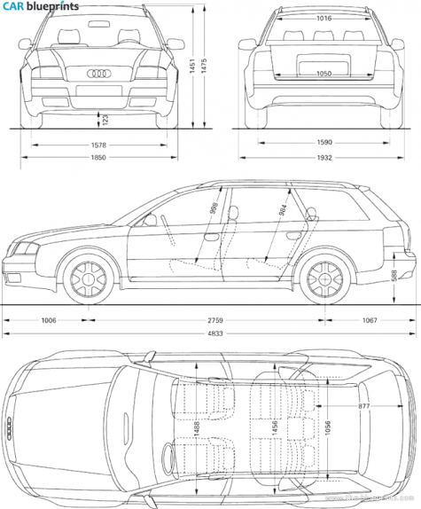 Car blueprints audi a6 avant blueprints vector drawings 1998 audi a6 avant wagon blueprint malvernweather Image collections