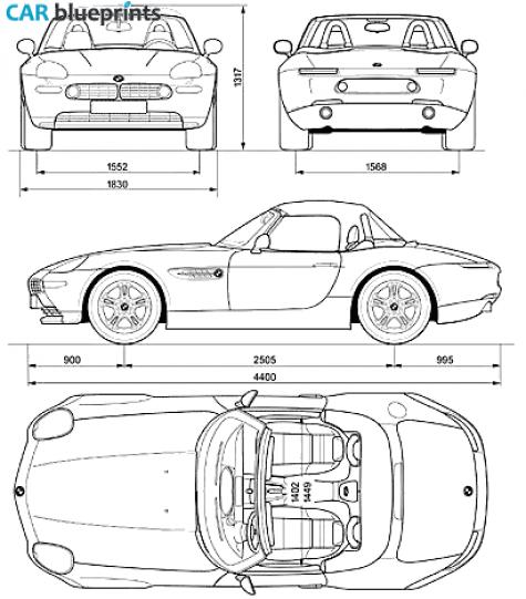 Car Blueprints Bmw Z8 E52 Blueprints Vector Drawings