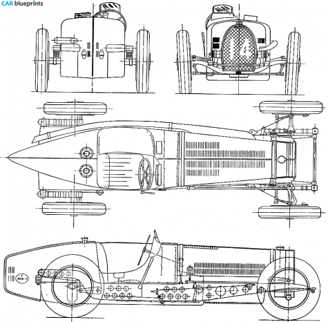 Car blueprints bugatti type 59 33l gp blueprints vector drawings 1934 bugatti type 59 33l gp ow blueprint malvernweather Choice Image