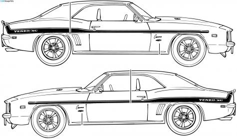 Car Blueprints Chevrolet Camaro Yenko Sc Blueprints Vector