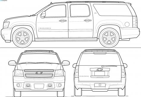 Car Blueprints Chevrolet Suburban Blueprints Vector Drawings