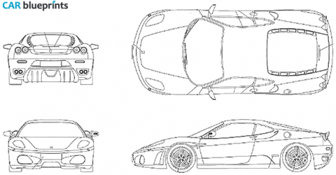 Car blueprints ferrari f430 blueprints vector drawings clipart 2005 ferrari f430 cabriolet blueprint malvernweather Choice Image