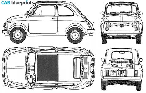 car blueprints fiat 500 f blueprints vector drawings clipart and pdf templates. Black Bedroom Furniture Sets. Home Design Ideas