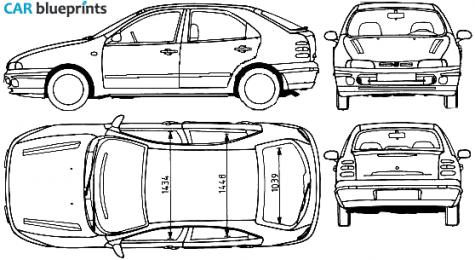CAR blueprints - Fiat Brava 5-door blueprints, vector drawings