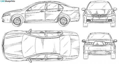Car blueprints honda accord blueprints vector drawings clipart 2004 honda accord sedan blueprint malvernweather Gallery