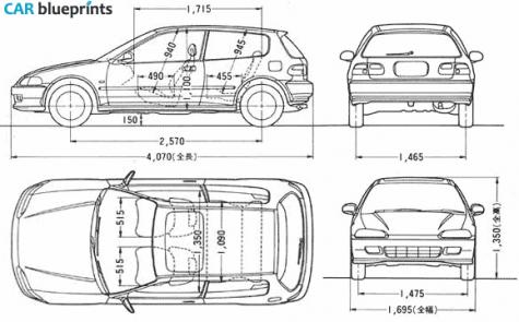 Car Blueprints Honda Civic Sir Blueprints Vector