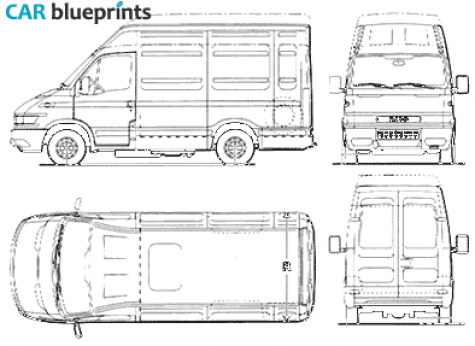car blueprints iveco daily 13m3 blueprints vector drawings clipart and pdf templates. Black Bedroom Furniture Sets. Home Design Ideas